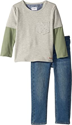 Two-Piece French Terry Pullover Sweatshirt w/ Knit Denim Pants (Toddler)