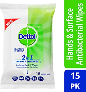 Dettol 2in1 Hands & Surfaces Antibacterial Wipes 15