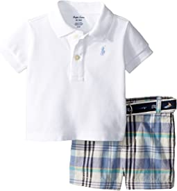 Polo, Belt & Madras Shorts Set (Infant)