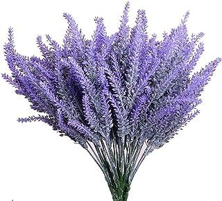 4 paquetes de flores de lavanda artificial hermoso arreglo de flores púrpuras planta falsa, plantas de plantas para la fiesta en el hogar mesa de comedor y decoración de la bodan (morado2)