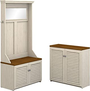 Bush Furniture Fairview Hall Tree with Shoe Bench and Small Storage Cabinet in Antique White and Tea Maple