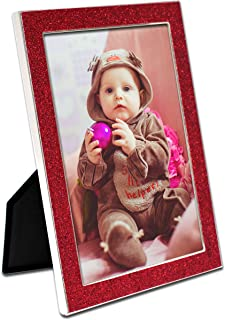 MIMOSA MOMENTS Mirror Silver Metal Christmas Picture Frame with Red Glitter Border(Silver & red Glitter, 5x7)