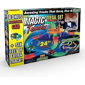 MAGIC TRACKS DIY 11ft Glow in the Dark LED LIGHT UP RACE CAR Bend Flex Racetrack