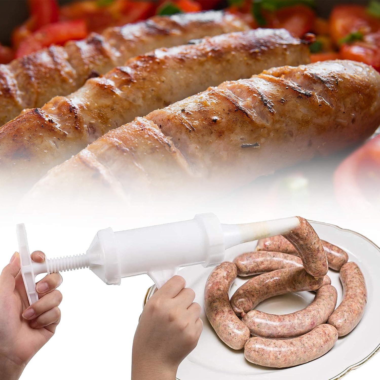 Remplisseur de Saucisses Machine Manuelle Poussoir /à Saucisse avec Entonnoir Epais et Fin Presse /à Saucisses pour les Saucisses Maison Blanc
