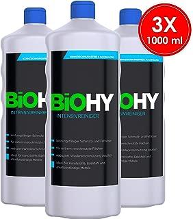Biohy – Limpiador intensivo – 3 unidades (3 x 1 litro) Limpiador básico, limpiador industrial – Potente eliminador de suciedad y grasa – Limpieza profesional – Detergente orgánico