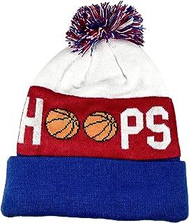 Pom Pom Youth/Teen Knitted Fleece Lined Beanie Hats w/Basketball Logo