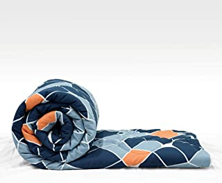 "Divine Casa Microfiber Reversible Geometric Single Comforter for Single Bed - (59""x90"") , Navy Blue and Orange"