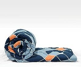 Divine Casa Imperial Geometric Microfibre Single Comforter - Navy Blue and Orange
