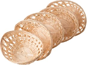 Vintiquewise QI003504.L.5 Set of 5 Natural Bamboo Oval Bread Basket Storage Display Trays, Brown
