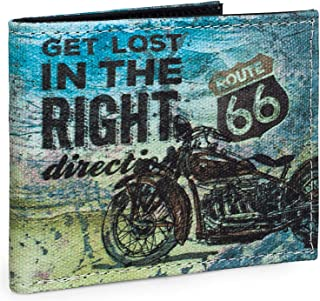 ROUTE 66 Portafoglio giovanile di ragazzo portamonete portafoglio in tela molti scomparti logo stampato R11910 tela nero t...