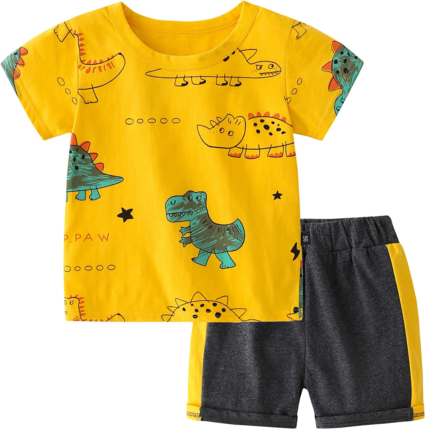 AMOUR TIME Toddler Baby Boy Summer Clothes Outfits Short Sleeve Dinosaur Print Shirt Shorts Sets 2Pcs Little Boy Clothing