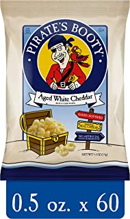 Pirate's Booty Snack Puffs, Aged White Cheddar Baked Rice & Corn Puffs, 0.5oz (Pack of 60)