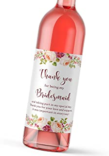 Set of 8 - Thank You For Being My Bridesmaid, Maid of Honor, Matron of Honor Gift Wedding Gifts Wine Bottle Labels - Bridesmaid Thank, Bridal Party Bubbly Tote Gift Ideas, Weatherproof, A900-THANK-8