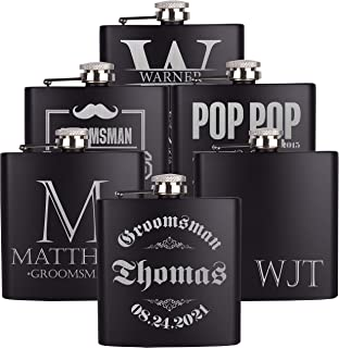PersonalizedGiftLand Personalized Flask, Set Of 3 - Customized Flask Groomsmen Gifts For Wedding Favors, Personalized Groomsman gift – Stainless Steel Engraves Flasks w Gift Box Options – 6oz, Black