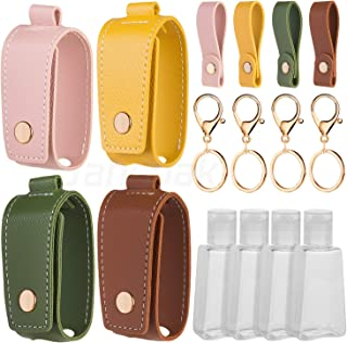 Sansoak Refillable Bottles Keychain Holder, 4 Pack Small Empty Travel Size Reusable Flip Cap Bottle for Soap Liquids Shampoo and Lotion- 30ML/1oz Refillable Containers Bottles with Case Carriers…