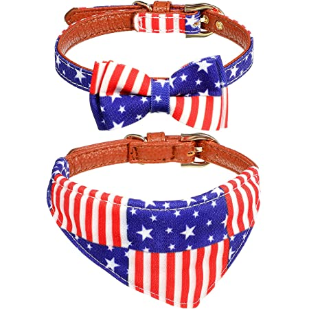 2 Pieces American Flag Bowtie Bandana Dog Collars Adjustable Bow-tie and Scarf Pet Collars Faux Leather Breakaway Dog Cat Collars for Dog Puppy Cat (1.3 cm Wide, 29 - 42 cm Adjustable Length)
