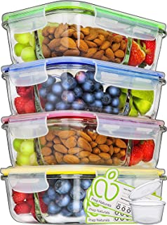 Prep Naturals Glass Meal Prep Containers 3 Compartment - Food Containers Meal Prep Food Prep Containers Lunch Containers Glass Containers with Lids Freezer Containers Bento Box (4 Pack, 34 Ounce)