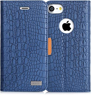 iPhone 8 Case, iPhone 7 Case, WWW [Crocodile Pattern] Premium PU Leather Wallet Case Flip Phone Case Cover with Card Slots for iPhone 7/8  Navy Blue