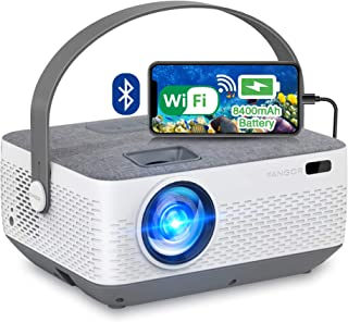 WiFi Projector Bluetooth 8400mAh Battery, Rechargeable Portable Home Projector, FANGOR 1080P Supported Movie Projector wit...