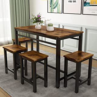 5 Pcs Dining Table Set, Modern Bar Table Set with 4...
