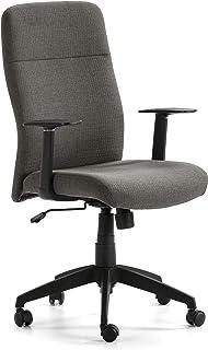 VS Venta-stock Sillón de Oficina elevable y reclinable Sam tapizado con Telas, Color Gris Oscuro, Pata en Negro
