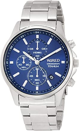 [ワイアード]WIRED 腕時計 WIRED クロノグラフ付き チタンモデル ネイビー文字盤 10気圧防水 ハードレックス AGAT428 メンズ