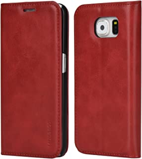 Samsung S6 Case,Mulbess PU Leather Wallet Case with Kick Stand for Samsung Galaxy S6,Wine Red