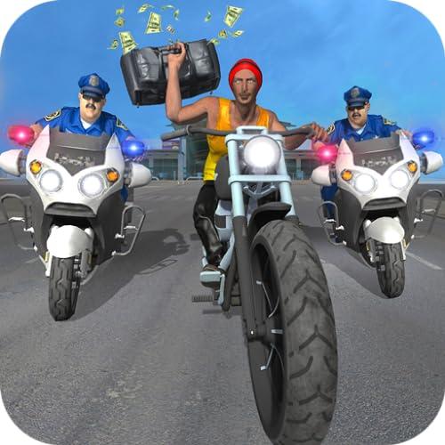 Moto de la policía de Chase Supermercado juego robo