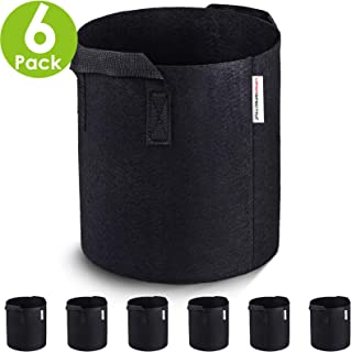 VIPARSPECTRA 6-Pack 2 Gallon Grow Bags - Thickened Nonwoven Aeration Fabric Pots Container with Heavy Duty Durable Handles for Garden Indoor Plants