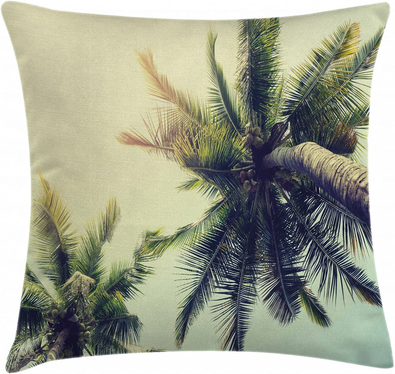 Ambesonne Palm Tree Throw Pillow Cushion Cover, Coconut Trees on Tropical  Beach Caribbean Coastline Ocean Summer, Decorative Square Accent Pillow ...