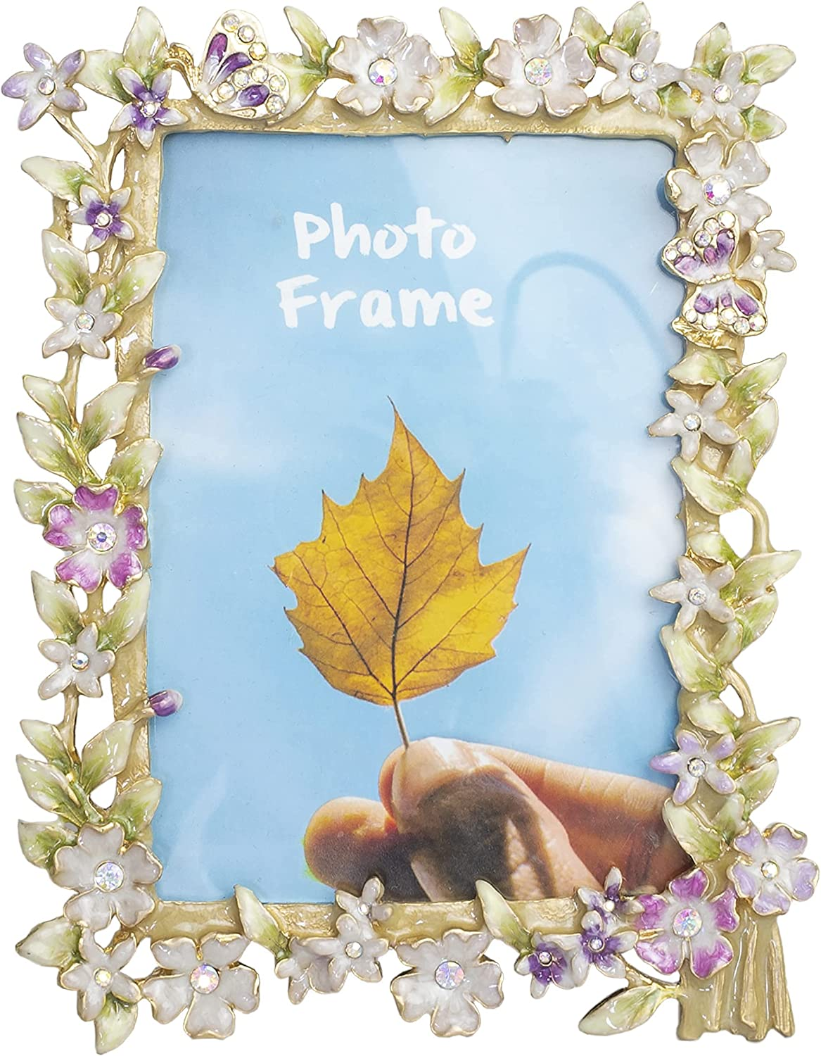 Tricune Picture Frame 3.5x5, Vintage Photo Frame Made of Pewter Metal and High Definition Glass for Table Top Display, Home Deco (3x3.5 inch, Flowers)