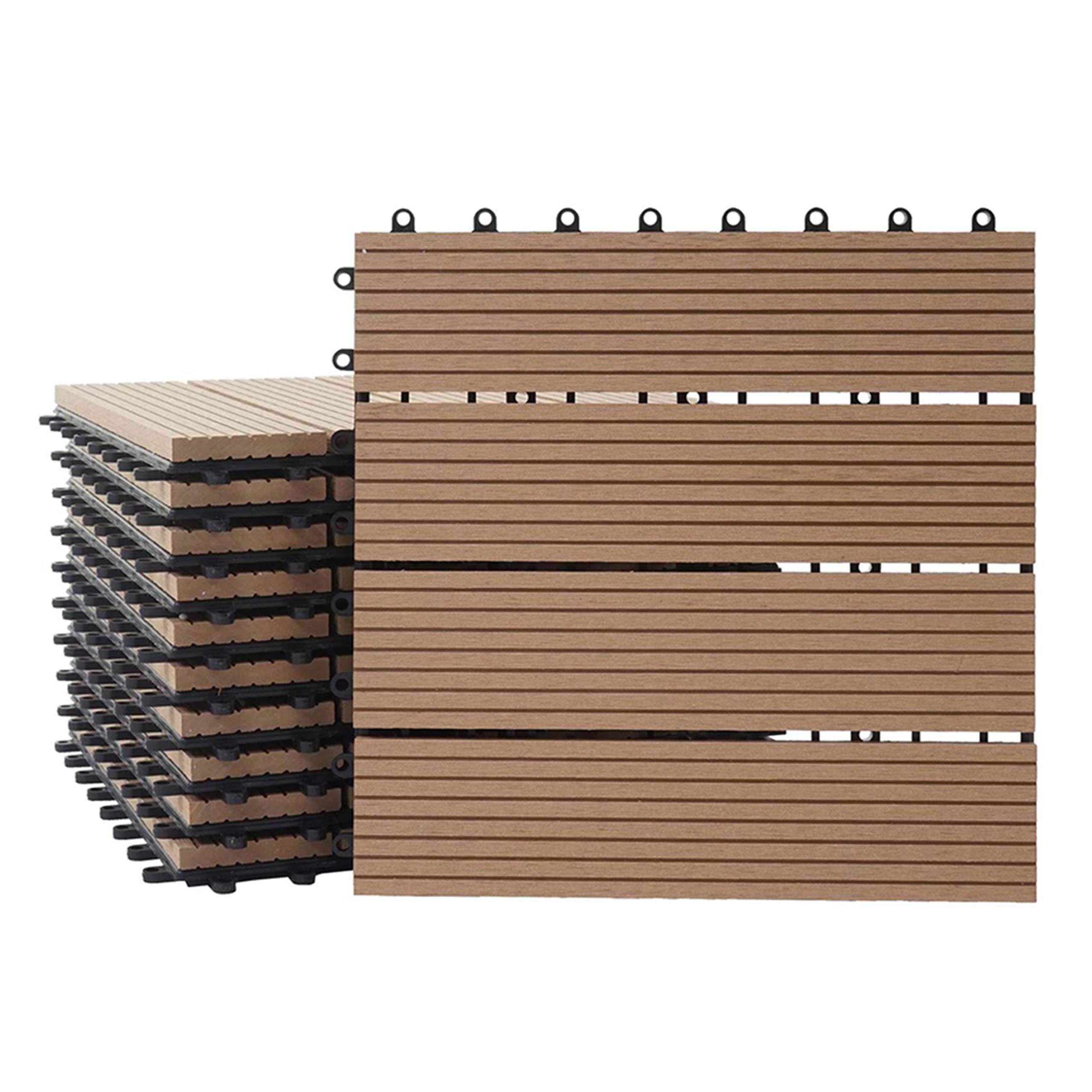 Holzoptik Balkon//Terrasse Mendler WPC Bodenfliese Rhone Teak linear 11x je 30x30cm = 1qm ~ Basis
