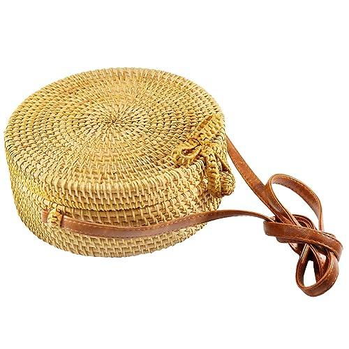 Senvina Round Rattan Bag (Rattan Clasp) w/ Bonus 1 Pair of Cute Rattan