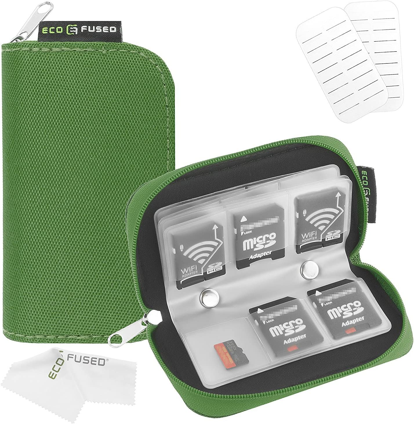 Memory Card Case - Fits up to 22x SD, SDHC, Micro SD, Mini SD and 4X CF - Holder with 22 Slots (8 Pages) - for Storage and Travel (Green)
