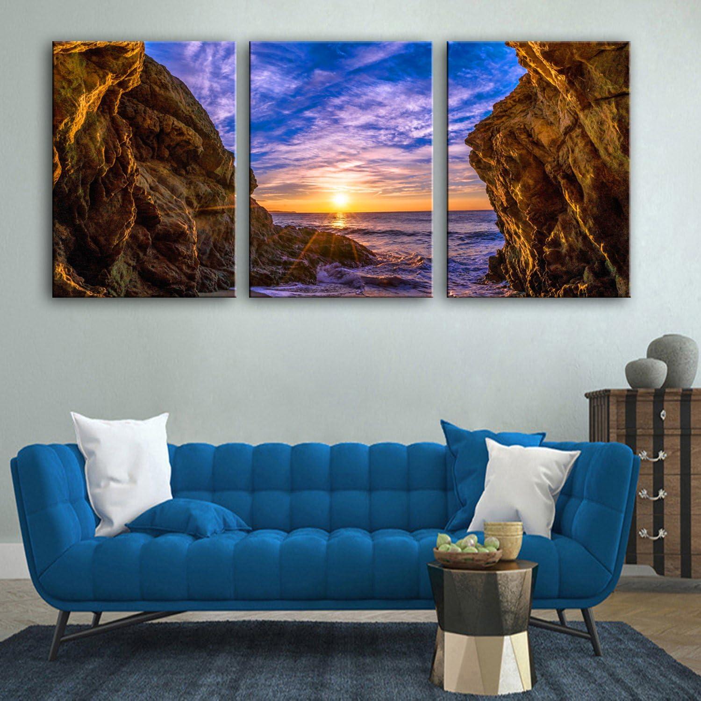 RUNDESHEBEI Y&M 3pcs felsigen Küste dekorative Malerei Rahmen Malerei das Wohnzimmer Studie Malerei, 50  70  3 B072QBJNV3  | Moderner Modus