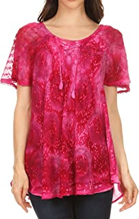 Sakkas 17876 - Lena Tie-dye Short Sleeve Blouse Top with Crochet Lace and Embroidery - Fuchsia - OS