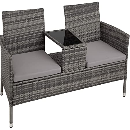 TecTake Salon de Jardin en résine tressée canapé Banc avec Table intégrée avec Verre de sécurité + Coussins - diverses Couleurs au Choix - (Gris   No. 403223)