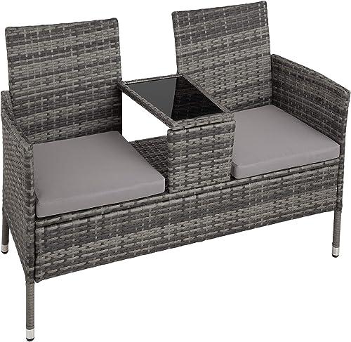 TecTake Salon de Jardin en résine tressée canapé Banc avec Table intégrée avec Verre de sécurité + Coussins - diverse...