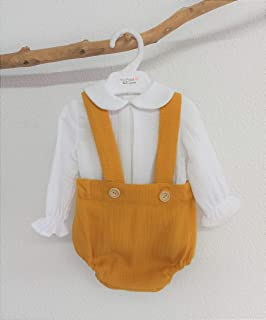 Conjunto bebé niño camisa y peto. Conjunto niño otoño invierno. Conjunto niño detalles bordados a mano.