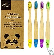 Cepillo de dientes de bambú orgánico para niños | Cuatro colores | Cerdas de fibra sin alcohol | 100% biodegradable | Cepillos de dientes veganos ecológicos para niños | de Wild and Stone