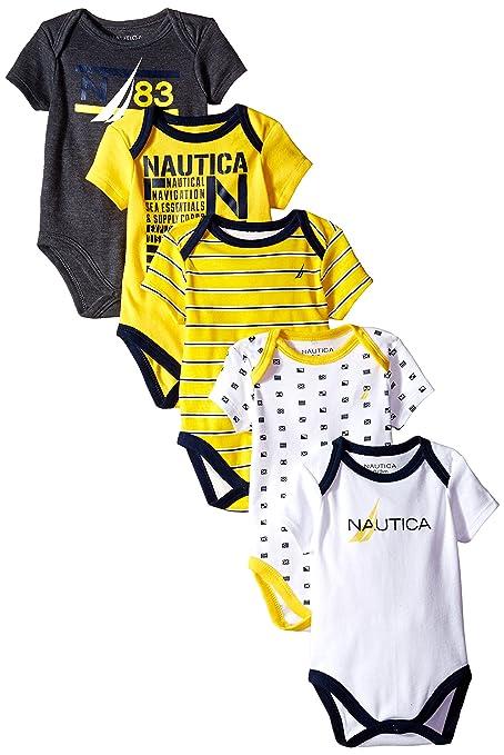 Baby Boy/'s Nautica 5 Pack of Bodysuits in White//Navy