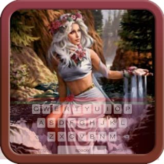Girl in Waterfalls Keyboard Theme Free Themes Backgrounds Wallpapers