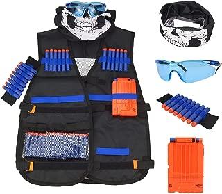 BEYOND MS Kids Tactical Vest,Tactical Vest Kit for Nerf Guns N-Strike Elite Series with 20Pcs Soft Foam Darts Bullets,1Pcs 8-Dart Wrist Band, Seamless Face Mask & Goggle,1Pcs Quick Reload Clip
