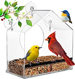Window Bird Feeder - Large - Bird Feeders for Outside w/Easy Lift Bird Seed Tray & Strong Suction Cup Mount to Stay Put - ...