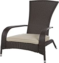 Patio Sense Coconino Wicker Lounge Chair, Mocha All Weather Wicker, Beige Cushion, Adirondack Style Armchair