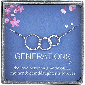 Generations Grandma Bracelet Sterling Silver 3 Interlocking Circles Mom /& Granddaughter Mothers Day Gift
