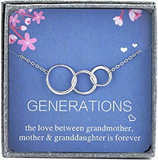 Amelery Grandma Necklace Sterling Silver Pendants Hoop Generations 3 Interlocking Circles Pendants Grandmother Infinity Circles for Mom Mum Mother Granddaughter Birthday Gifts for Women Girls