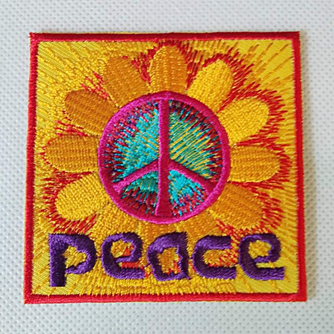 Zazza95 New Bright Yellow Red Purple Peace Sunflower Retro Rider Biker Sign Embroidered Sew Iron On Patch Badge Fabric Applique Handmade Art Craft Transfer Sequin DIY Clothes Clothing Shirts Jeans Bag