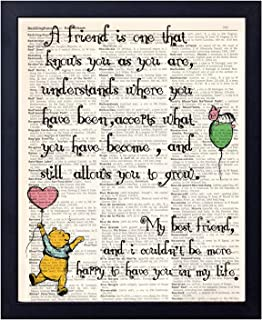 akeke Best Friend Birthday Gift Winnie The Pooh Quote Vintage Book Art Prints, 8x10 Unframed Art Poster, Coworker Gift Maid of Honor Gift Bridesmaid, Great Child/Boy/Girl/Nursery Room Decor (Friend)