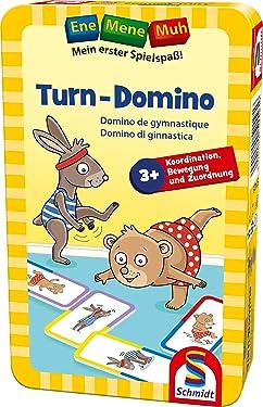 Schmidt Spiele 51425 Ene Mene MUH, Turn-Domino, Bring Me with Game in Metal Tin, Colourful